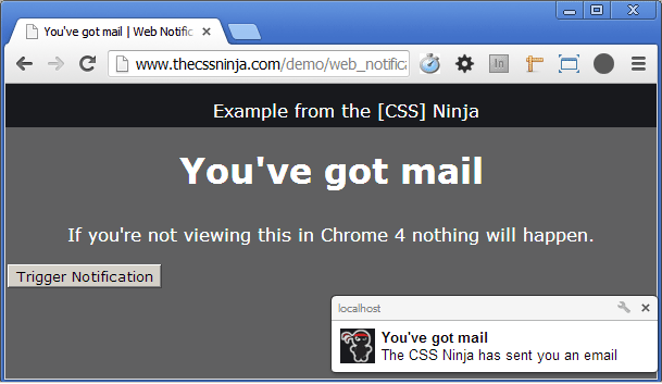 First example of Web Notifications in Chrome