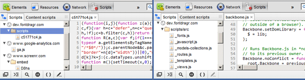 WebKit Devtools example of source maps on and source maps off